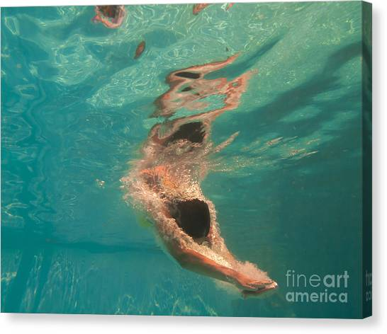Stunning Canvas Print - Girl Diving In The Swimming Pool by Netfalls  Remy Musser