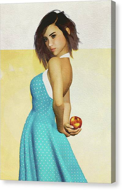 Canvas Print featuring the digital art Girl Holding An Apple by Jan Keteleer