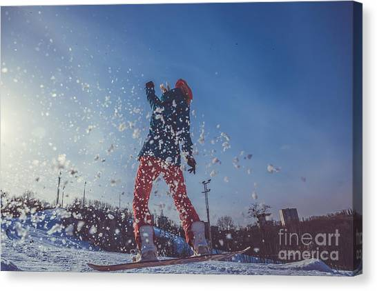 Student Canvas Print - Girl Learning To Ride A Snowboard by Liukov