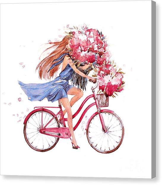 Basket Canvas Print - Girl On Bike.  Bicycle. Bike. Peony by Julandersen