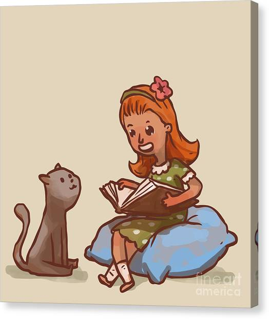 Big Canvas Print - Girl Reads Book To Cat, Vector by Ivan nikulin