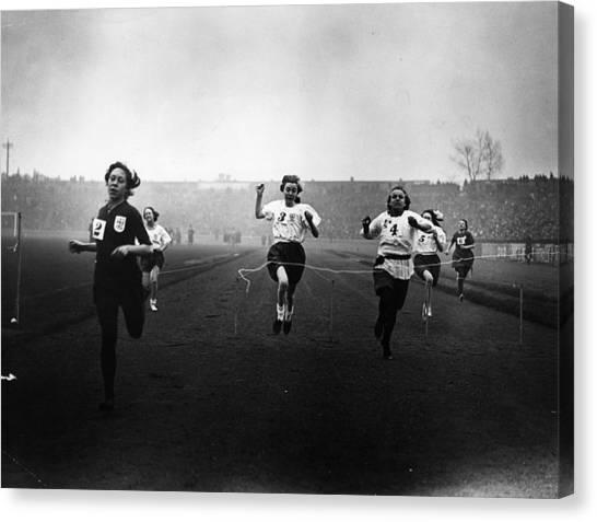 Stamford Bridge Canvas Print - Girls Race by Topical Press Agency