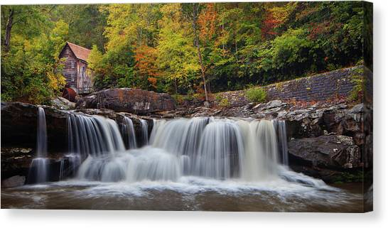 Glade Creek Grist Mill And Cascade Canvas Print