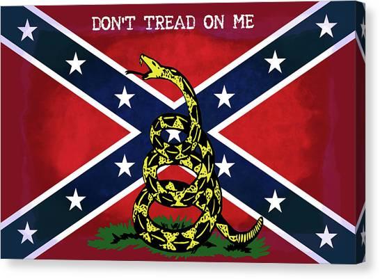 Us Civil War Canvas Print - Gadsden Confederate Flag by Daniel Hagerman