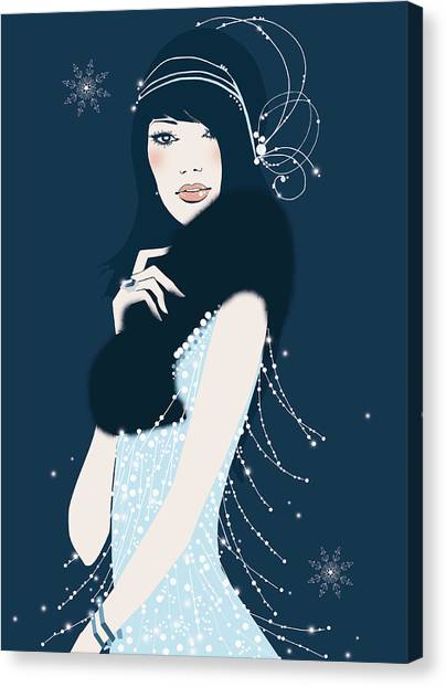 Glamorous Woman With Fur Boa Canvas Print