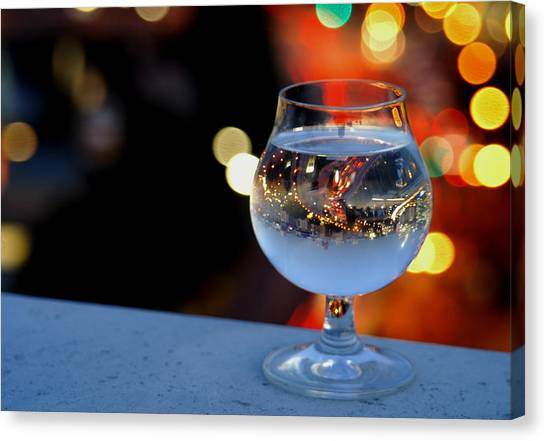 Glass Of Water Overlooking Vienna Canvas Print