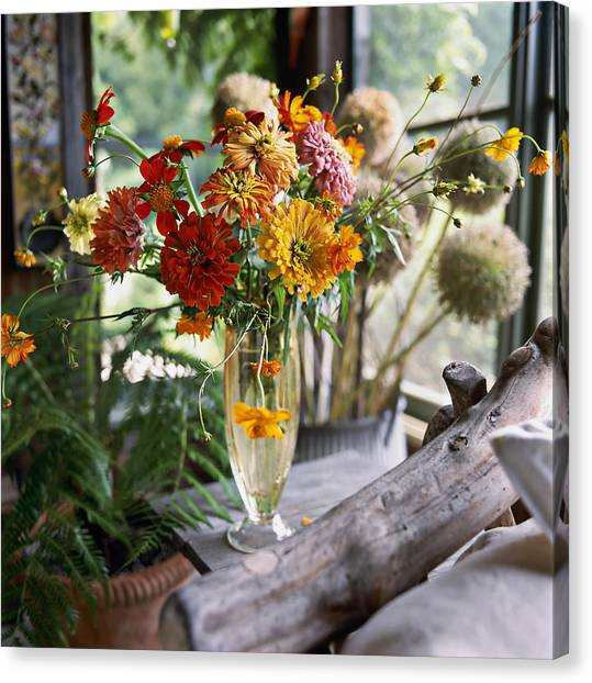 Vase Of Flowers Canvas Print - Glass Vase Of Zinnias Zinnia And by Richard Felber