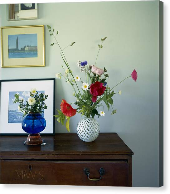 Vase Of Flowers Canvas Print - Glass Vases Of Rose Rosa And by Richard Felber