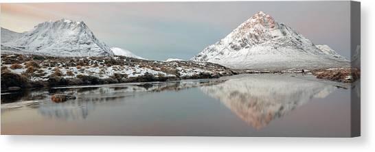 Canvas Print featuring the photograph Glencoe Snow Mountain Winter Sunrise by Grant Glendinning