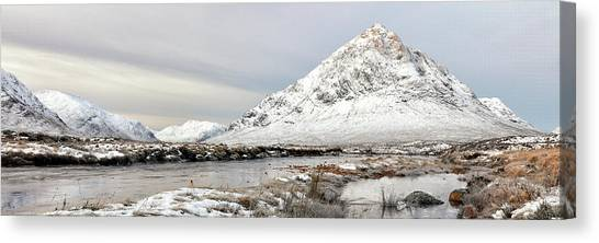 Canvas Print featuring the photograph Glencoe Snowy Morning by Grant Glendinning