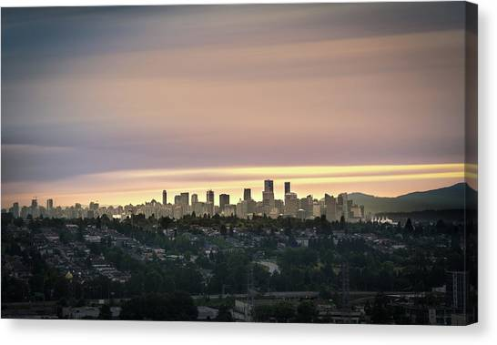 Canvas Print featuring the photograph Gloden Sky On Vancouver by Juan Contreras