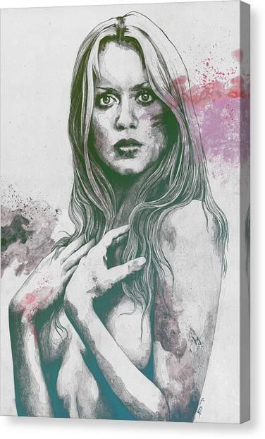 Gloria Canvas Print - Gloria - Sexy Nude Woman Sketch Drawing, Tribute To Gloria Guida- Purple  by Marco Paludet