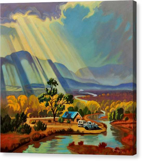 God Rays On A Blue Roof Canvas Print
