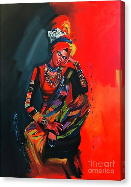 Canvas Print featuring the painting Goddess Of Colors by Nizar MacNojia
