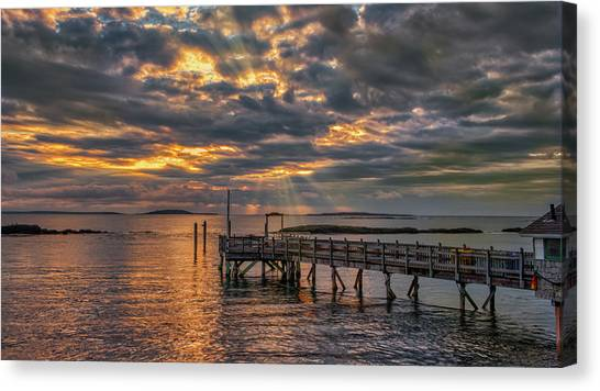Canvas Print featuring the photograph Godrays Over The Pier by Guy Whiteley