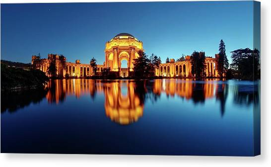 Canvas Print featuring the photograph Gold Surrounded By Deep Blue by Quality HDR Photography
