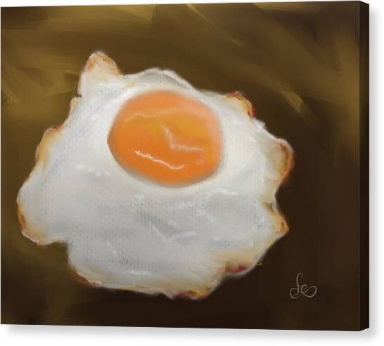 Canvas Print featuring the pastel Golden Fried Egg by Fe Jones