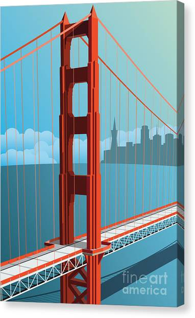 Famous Places Canvas Print - Golden Gate Bridge by Nikola Knezevic