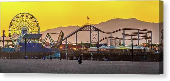 Santa Monica Canvas Print - Golden Moments by Az Jackson