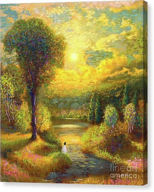Sacred Canvas Print - Golden Peace by Jane Small