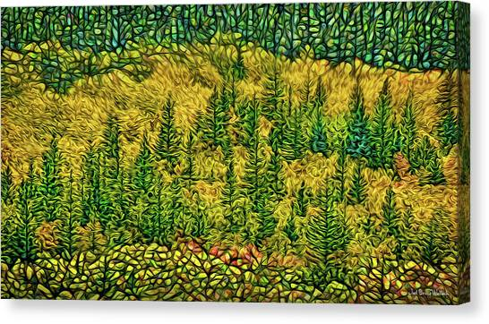 Canvas Print featuring the digital art Golden Pine Forest by Joel Bruce Wallach
