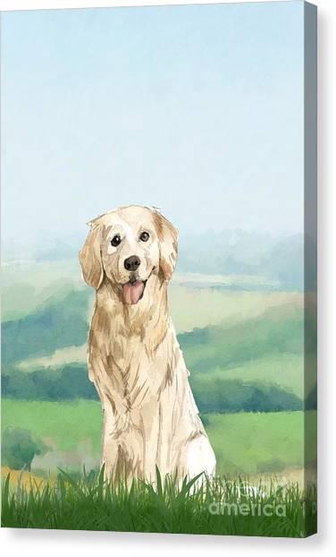 Purebred Canvas Print - Golden Retriever by John Edwards