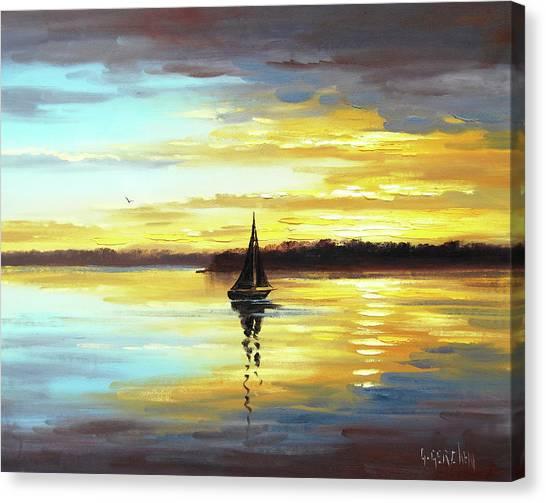 Colourful Canvas Print - Golden Sunset by Graham Gercken