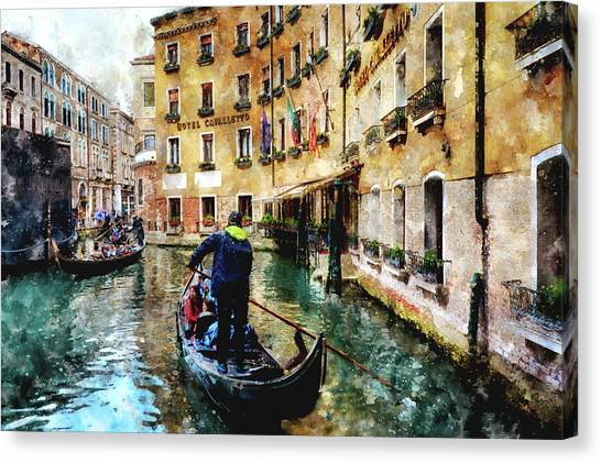Gondola Traffic Near Piazza San Marco In Venice, Italy - Watercolor Effect Canvas Print