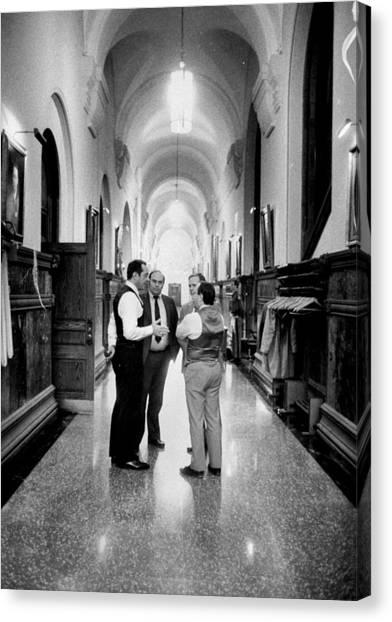 Gov. Mario Cuomo Talks With Michael Canvas Print
