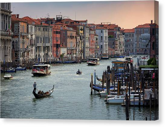 Canvas Print featuring the photograph Grand Canal Gondolier Venice Italy Sunset by Nathan Bush