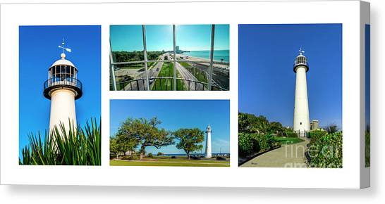 Grand Old Lighthouse Biloxi Ms Collage A1a Canvas Print