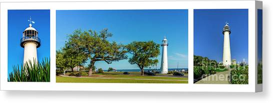 Grand Old Lighthouse Biloxi Ms Collage A1e Canvas Print