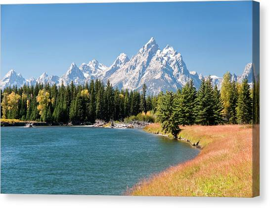Grand Tetons Mountians And The Snake Canvas Print