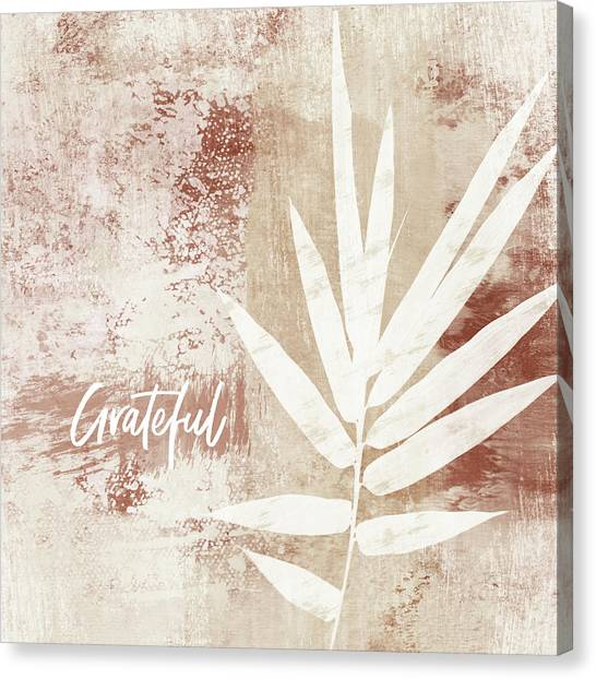 Autumn Leaves Canvas Print - Grateful Autumn Clay Leaf - Art By Linda Woods by Linda Woods