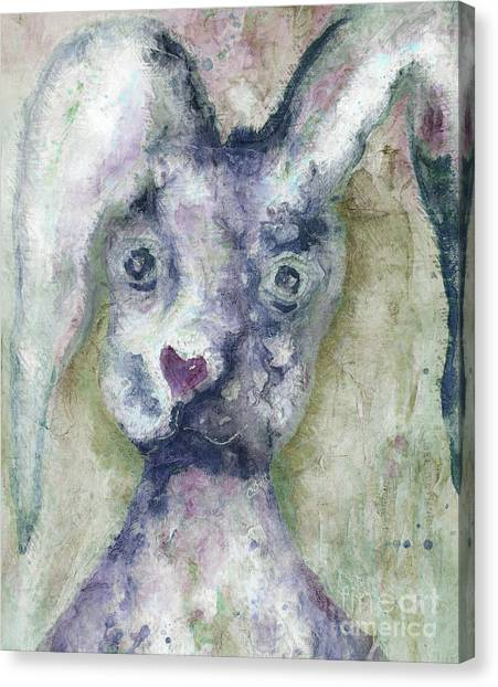 Canvas Print featuring the painting Gray Bunny Love by Claire Bull