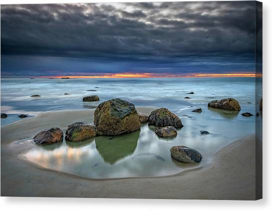 Canvas Print featuring the photograph Gray Morning On Wells Beach by Rick Berk