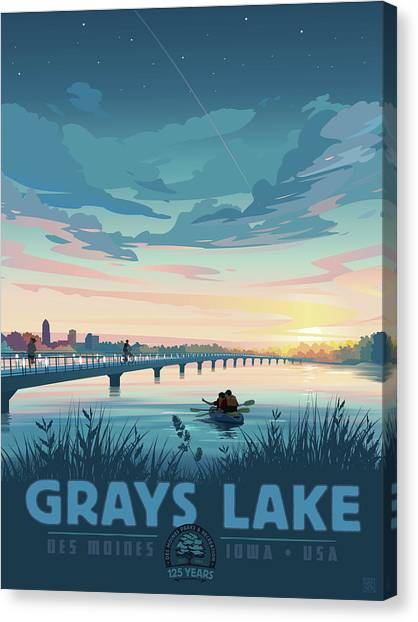 Canvas Print featuring the drawing Grays Lake by Clint Hansen