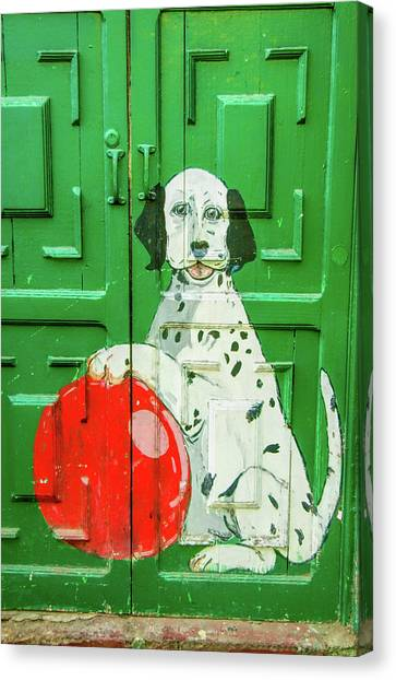Dalmations Canvas Print - Green Door With Dog In Arica Chile by David Smith