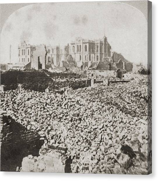 Great Chicago Fire Canvas Print by Otto Herschan Collection
