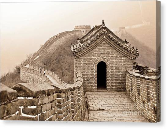 Fortification Canvas Print - Great Wall Of China by Delphimages Photo Creations