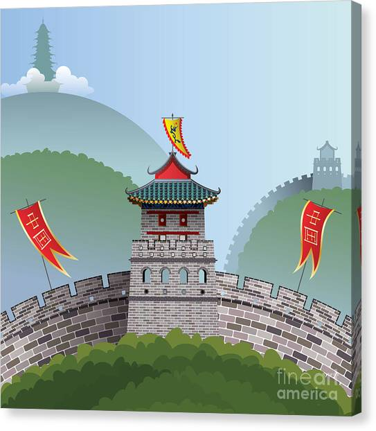 Famous Places Canvas Print - Great Wall Of China by Nikola Knezevic