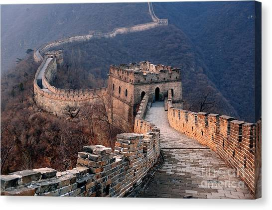 Bricks Canvas Print - Great Wall Sunset Over Mountains In by Songquan Deng
