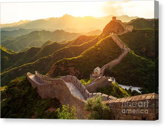 Bricks Canvas Print - Great Wall Under Sunshine During Sunset by Zhu Difeng