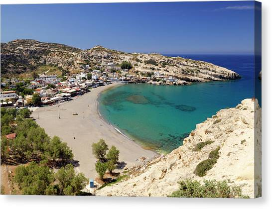 Greece, Crete, Matala, Village And Beach Canvas Print