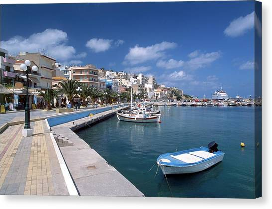 Greece, Crete, Siteia, View Of Canvas Print