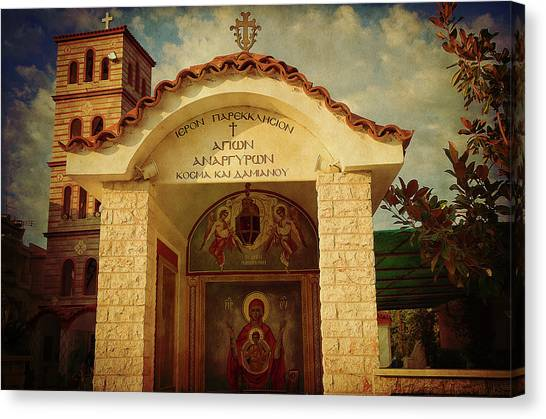 Canvas Print featuring the photograph Greek Church by Milena Ilieva