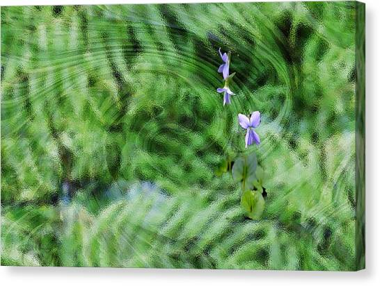 Canvas Print featuring the digital art Green Abstract With Violets by Roy Erickson