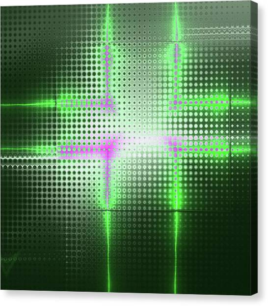 Fashion Plate Canvas Print - Green Aluminum Sparkling Surface. Metallic Geometric Abstract Fashion Background. by Rudy Bagozzi