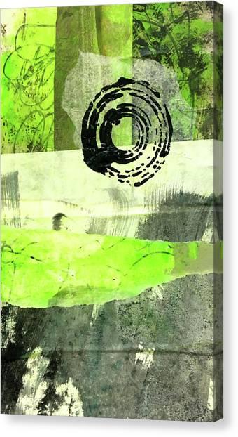 Torn Paper Collage Canvas Print - Green Balance No. 1 by Nancy Merkle