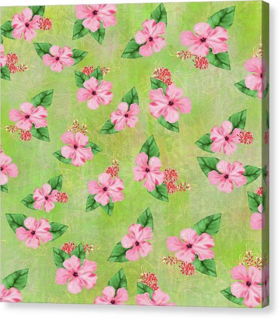Green Batik Tropical Multi-foral Print Canvas Print